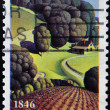 UNITED STATES OF AMERICA - CIRCA 1996: A Stamp printed in USA shows the Young Corn, by Grant Wood, Iowa Statehood, circa 1996 - Stock Photo