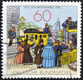 GERMANY - CIRCA 1981: stamp printed in Germany shows by Mailcoach, lithograph, circa 1981. — Stock Photo