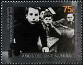 ARGENTINA - CIRCA 1995: A stamp printed in Argentina dedicated to 100 years of world cinema shows scene 400 Blows by Francois Truffaut, circa 1995 — Stock Photo