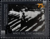 ARGENTINA - CIRCA 1995: A stamp printed in Argentina dedicated to 100 years of world cinema shows scene The Battleship Potemkin by Sergei Eisenstein, circa 1995 — Stock Photo