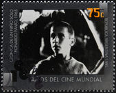 ARGENTINA - CIRCA 1995: A stamp printed in Argentina dedicated to 100 years of world cinema shows scene of Chronicle of a Boy Alone by Leonardo Favio, circa 1995 — Stock Photo