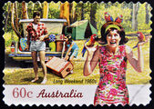 AUSTRALIA - CIRCA 2010: A stamp printed in australia shows long weekend 1960s, circa 2010 — Stock Photo