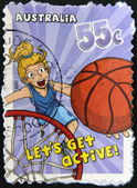 "AUSTRALIA - CIRCA 2009: A stamp printed in Australia shows Basketball, ""Let's Get Active!"", circa 2009 — Stock fotografie"
