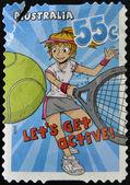 "AUSTRALIA - CIRCA 2009: A stamp printed in Australia shows tennis, ""Let's Get Active!"", circa 2009 — Stock fotografie"