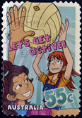 "AUSTRALIA - CIRCA 2009: A stamp printed in Australia shows netball, ""Let's Get Active!"", circa 2009 — Stock Photo"