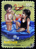 AUSTRALIA - CIRCA 2009 : a stamp printed in Australia shows australian inventions speedos - zinc cream, circa 2009 — Stock Photo