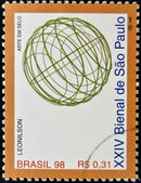 BRAZIL - CIRCA 1998: A stamp printed in Brazil dedicated to Sao Paulo Biennial, shows a work of Leonilson, circa 1998 — Stock Photo