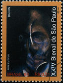 BRAZIL - CIRCA 1998: A stamp printed in Brazil dedicated to Sao Paulo Biennial, shows portrait by Francis Bacon, circa 1998 — Stock Photo