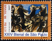 BRAZIL - CIRCA 1998: A stamp printed in Brazil dedicated to Sao Paulo Biennial, shows The Raft of the Medusa by Asger Jorn, circa 1998 — Stock Photo