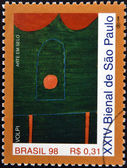 BRAZIL - CIRCA 1998: A stamp printed in Brazil dedicated to Sao Paulo Biennial, shows a work by Alfredo Volpi, circa 1998 — 图库照片