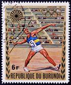 BURUNDI - CIRCA 1972: A stamp printed in Burundi dedicated to the Munich Olympics, shows javelin, circa 1972 — Stock fotografie