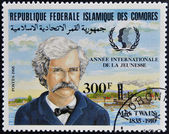 FEDERAL ISLAMIC REPUBLIC COMOROS - CIRCA 1985: A stamp printed in Comoros shows Mark Twain, circa 1985 — Stock Photo