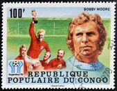 Kongo - cca 1978: razítka v kongu věnované mistrovství světa v argentině 1978, ukazuje bobby moore, kolem roku 1978 — Stock fotografie