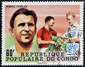CONGO - CIRCA 1978: A stamp printed in Congo dedicated to the World Cup in Argentina 1978, shows Ferenc Puskas, circa 1978 — Stockfoto