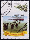 CUBA - CIRCA 1999: A stamp printed in Cuba celebrating the 40th anniversary of the triumph of the Revolution, circa 1999 — Stock Photo