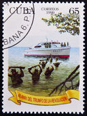 CUBA - CIRCA 1999: A stamp printed in Cuba celebrating the 40th anniversary of the triumph of the Revolution, circa 1999 — Stock Photo