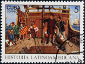 CUBA - CIRCA 1992: A stamp printed in cuba dedicated to Latin American history, shows Columbus Land sighted Oct. 12, 1942, circa 1992 — Stock Photo