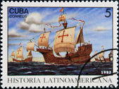 CUBA - CIRCA 1992: A stamp printed in cuba dedicated to Latin American history, shows Three ships stopping at Canary Islands, circa 1992 — Stock Photo