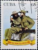 CUBA - CIRCA 1999: A stamp printed in Cuba shows Image of Fidel Castro and Che Guevara, circa 1999 — Stock Photo