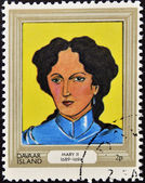 DAVAAR ISLAND - CIRCA 1977: A stamp printed in Davaar Island dedicated to the kings and queens of Britain, shows Queen Mary II (1689 - 1694), circa 1977 — Stock Photo
