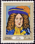 DAVAAR ISLAND - CIRCA 1977: A stamp printed in Davaar Island dedicated to the kings and queens of Britain, shows King James I (1685 - 1689), circa 1977 — Stock Photo