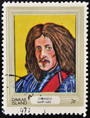 DAVAAR ISLAND - CIRCA 1977: A stamp printed in Davaar Island dedicated to the kings and queens of Britain, shows King Charles II (1649 - 1685), circa 1977 — Stock Photo