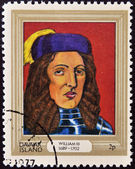 DAVAAR ISLAND - CIRCA 1977: A stamp printed in Davaar Island dedicated to the kings and queens of Britain, shows King William III (1689 - 1702), circa 1977 — Stock Photo