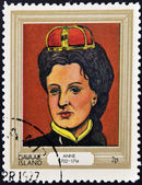 DAVAAR ISLAND - CIRCA 1977: A stamp printed in Davaar Island dedicated to the kings and queens of Britain, shows Queen Anne (1702 - 1714), circa 1977 — Stock Photo