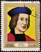 DAVAAR ISLAND - CIRCA 1977: A stamp printed in Davaar Island dedicated to the kings and queens of Britain, shows King Edward IV (1461 - 1483), circa 1977 — Stock Photo