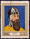 DAVAAR ISLAND - CIRCA 1977: A stamp printed in Davaar Island dedicated to the kings and queens of Britain, shows King Edward III (1327 - 1377), circa 1977 — Stock Photo