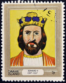 DAVAAR ISLAND - CIRCA 1977: A stamp printed in Davaar Island dedicated to the kings and queens of Britain, shows King Edward II (1307 - 1327), circa 1977 — Stock Photo