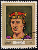 DAVAAR ISLAND - CIRCA 1977: A stamp printed in Davaar Island dedicated to the kings and queens of Britain, shows King Henry II (1154 - 1189), circa 1977 — Stock Photo