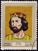 DAVAAR ISLAND - CIRCA 1977: A stamp printed in Davaar Island dedicated to the kings and queens of Britain, shows King Edward I (1272- 1307), circa 1977 — Stock Photo