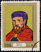 DAVAAR ISLAND - CIRCA 1977: A stamp printed in Davaar Island dedicated to the kings and queens of Britain, shows King Henry IV (1399 - 1413), circa 1977 — Stock Photo