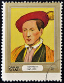 DAVAAR ISLAND - CIRCA 1977: A stamp printed in Davaar Island dedicated to the kings and queens of Britain, shows King Edward VI (1547 - 1553), circa 1977 — Stock Photo