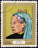 DAVAAR ISLAND - CIRCA 1977: A stamp printed in Davaar Island dedicated to the kings and queens of Britain, shows Queen Victoria (1837 - 1901), circa 1977 — Stock Photo