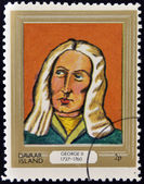 DAVAAR ISLAND - CIRCA 1977: A stamp printed in Davaar Island dedicated to the kings and queens of Britain, shows King George II (1727 - 1760), circa 1977 — Stock Photo