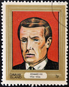 DAVAAR ISLAND - CIRCA 1977: A stamp printed in Davaar Island dedicated to the kings and queens of Britain, shows King Edward VIII (1936 - 1936), circa 1977 — Stock Photo