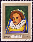 DAVAAR ISLAND - CIRCA 1977: A stamp printed in Davaar Island dedicated to the kings and queens of Britain, shows Queen Elizabeth I (1558 - 1603), circa 1977 — Stock Photo