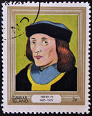 DAVAAR ISLAND - CIRCA 1977: A stamp printed in Davaar Island dedicated to the kings and queens of Britain, shows King Henry VII (1485 - 1509), circa 1977 — Stock Photo
