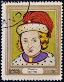 DAVAAR ISLAND - CIRCA 1977: A stamp printed in Davaar Island dedicated to the kings and queens of Britain, shows King Edward V (1483 - 1483), circa 1977 — Stock Photo