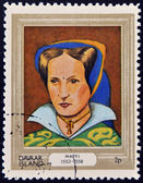 DAVAAR ISLAND - CIRCA 1977: A stamp printed in Davaar Island dedicated to the kings and queens of Britain, shows Queen Mary I (1553 - 1558), circa 1977 — Stock Photo