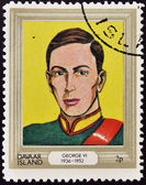 DAVAAR ISLAND - CIRCA 1977: A stamp printed in Davaar Island dedicated to the kings and queens of Britain, shows King George VI (1936 - 1952), circa 1977 — Stock Photo