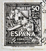 SPAIN - CIRCA 1947: A stamp printed in Spain shows Don Quixote, circa 1947 — Stock Photo