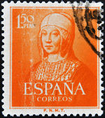 SPAIN - CIRCA 1951: A stamp printed in Spain shows Queen Isabella the Catholic, circa 1951 — Stockfoto