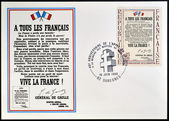 FRANCE - CIRCA 1964: Stamp printed in France celebrating the anniversary of the liberation, shows Appeal of 18 June 1940 by Charles de Gaulle, circa 1964 — Stock Photo