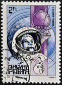 HUNGARY - CIRCA 1982: A Stamp printed in Hungary shows the Yuri Gagarin, Vostok, circa 1982 — Foto Stock