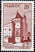 MOROCCO - CIRCA 1955: A stamp printed in Morocco shows Mahakma - Casablanca, circa 1955 — Stock Photo