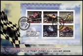 NEW ZEALAND - CIRCA 2009. Stamps printed in New Zealand dedicated to New Zealand champions of world motorsport, circa 2009 — Foto de Stock