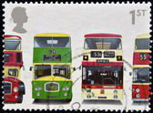 UNITED KINGDOM - CIRCA 2001: A stamp printed in Great Britain shows Bristol Lodekka FSF6G, Leyland Titan PD3/4, Leyland Atlantean PDR1/1 and Daimler Fleetline CRG6LX-33, circa 2001 — Foto Stock